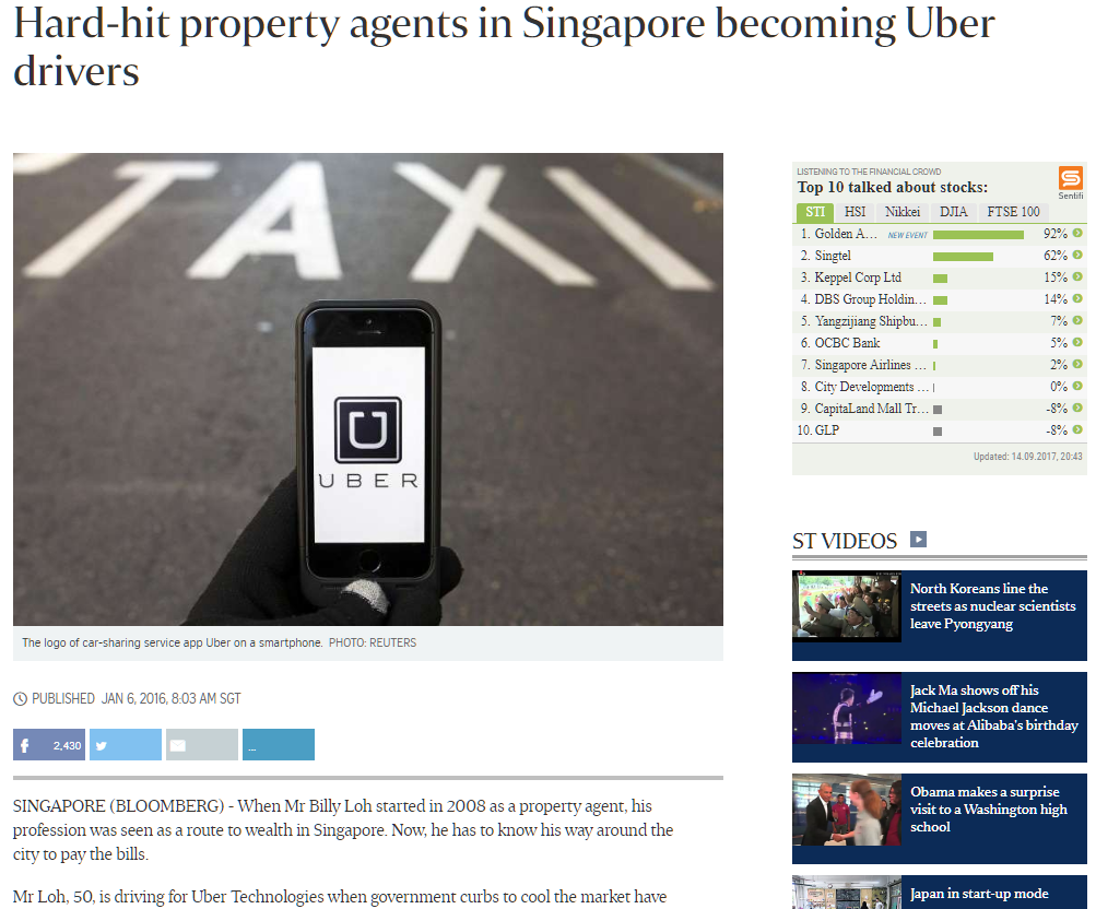 Hard hit property agents in singapore becoming Uber drivers